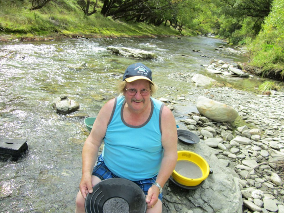 In Queenstown panning for gold August 2013