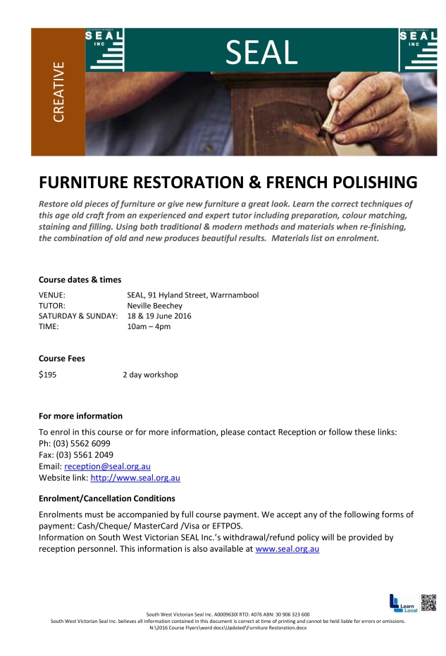 SEAL Furniture Restoration JUNE 2016
